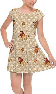 Rainbow Rules Hakuna Matata Lion King Disney Inspired Girls Cap Sleeve Pleated Dress Skater