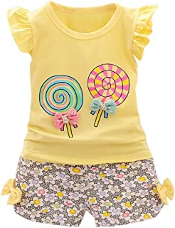 OrchidAmor 2PCS Baby Girls Cute Lolly T-Shirt Tops+Short Pants Toddler Kids Clothes Set Lolly T-Shirt Tops+Short Pants