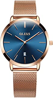 OLEVS Women Ultra Thin 6.5mm Quartz Rose Gold/Black Mesh Steel Wrist Watch with Free Adjust Screwdriver, Waterproof & Date Window