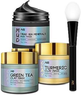 ماسک سفالی ANAiRUi Turmeric Clay - Mask خاک رس Detox چای سبز - ماسک گل و لای مواد معدنی دریای مرده ، ست ماسک صورت اسپا ، هر کدام 2.5 اونس.