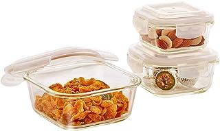 Borosil Klip-N-Store Gift Set, Storage Container, Square, 320ML, 520ML, 800ML