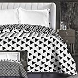 DecoKing Copriletto Trapuntato Reversibile Bianco Nero Motivo Geometrico 2 piazze Matrimoniale 240x260 cm Hypnosis Collection Triangles