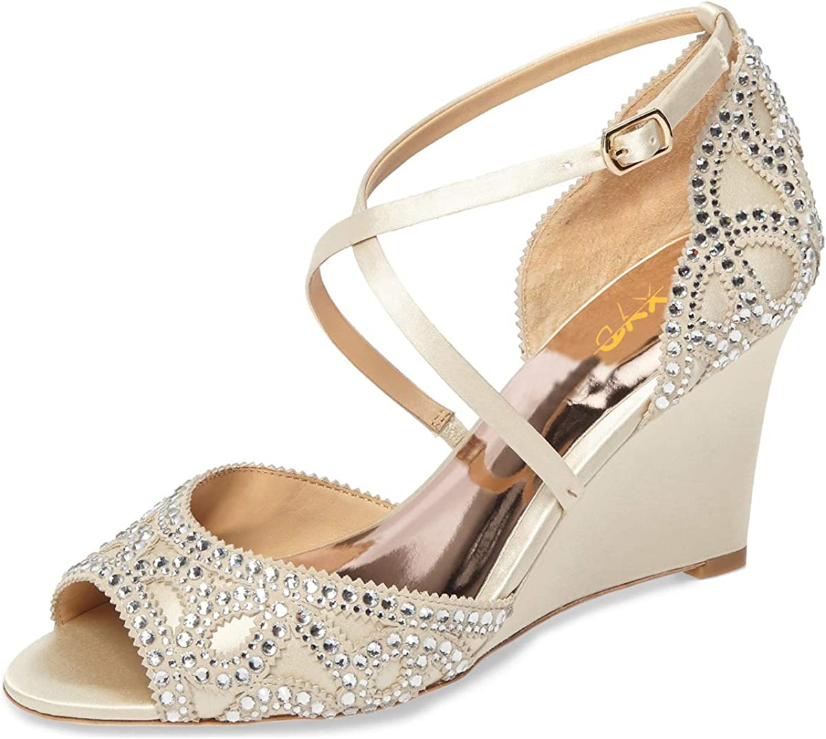 XYD Women Fashion Wedge Sandals 爆買い送料無料 Peep AL完売しました。 Toe Strap Rhines Crisscross