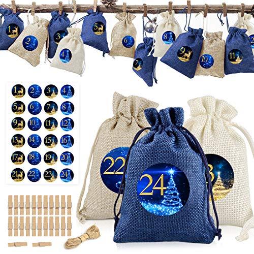 Adventskalender zum Befüllen 2020, 24 Adventskalender Stoff Jutesäckchen, Weihnachtskalender Taschen Geschenksäckchen mit 24 Adventszahlen Aufkleber, Adventskalender Basteln für Männer Kinder