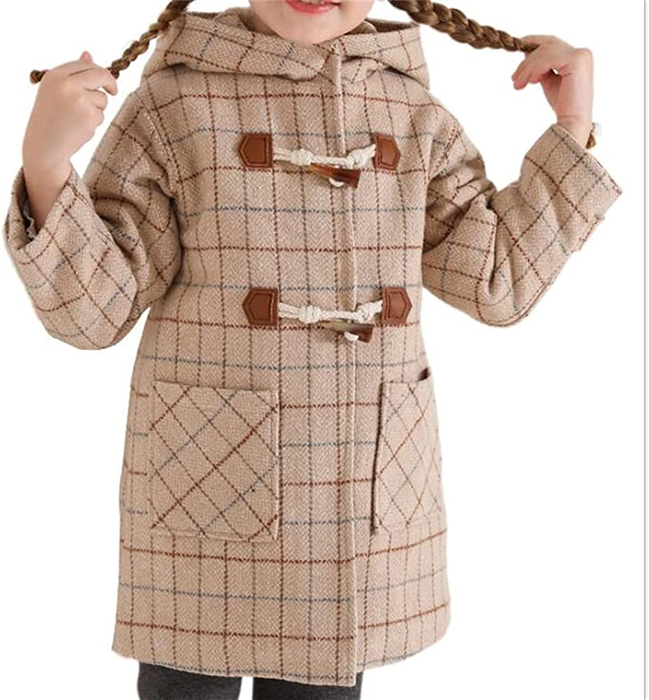 WXHCOS Children's Boys And Girls Plaid Hooded Puffer Jacket Coat Autumn And Winter Clothes