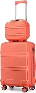 Kono Set de 2 Valises de Voyage Rigide Bagage Cabine à Main 55cm Légere à 4 roulettes avec Serrure TSA + Portable Vanity C...