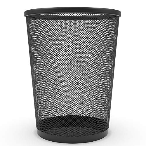 Zuvo 0-57398B Office MEsh Bin, Metall, schwarz, 27 cm (Height) x 24 cm (Diameter)