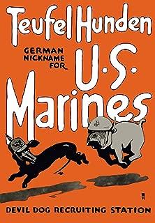 Posterazzi Vintage World War One Marine Corps Bulldog Chasing a German Dachshund Poster Print (11 x 17)