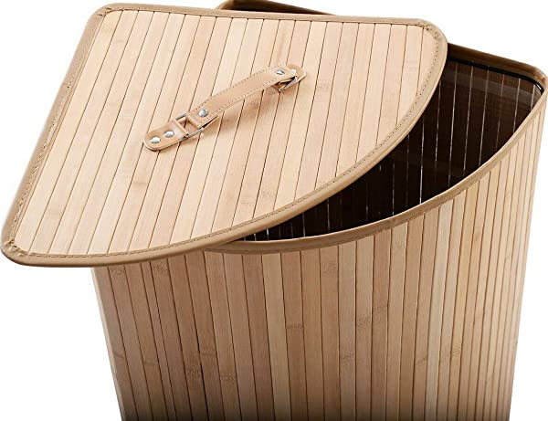 Purplebox Home Series Corner Bamboo Hamper Laundry Basket Washing Cloth Bin Storage Bag Lid Natural