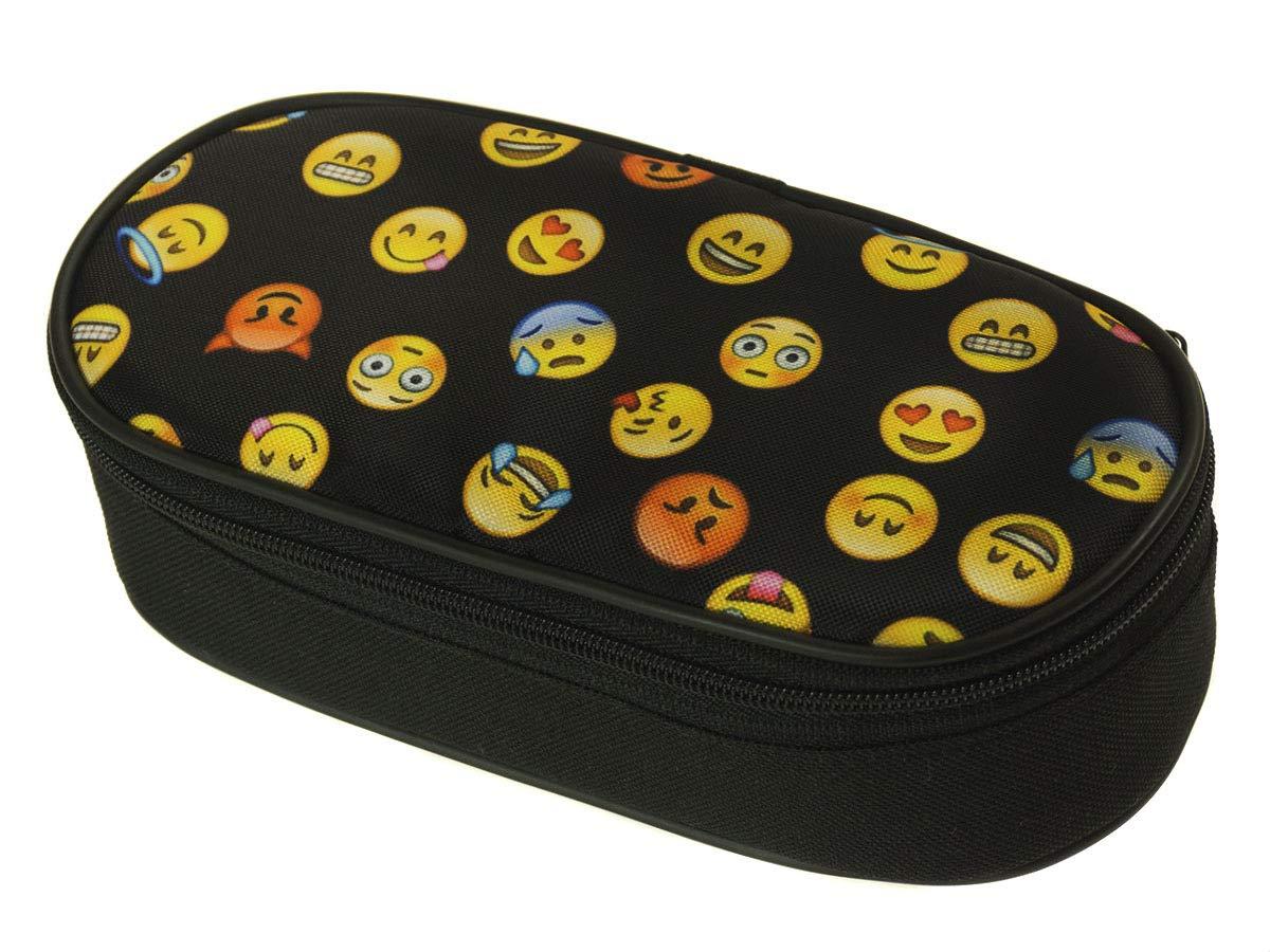 Estuche Oval Single Estuche organizador ovalado medallas caja de lápices de la escuela Emoji Negro [086]: Amazon.es: Oficina y papelería