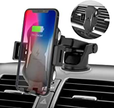 Himcle Wireless Car Charger Mount, Automatic Clamping Windshield Dashboard Air Vent Phone Holder, Qi Fast Charging Compatible with iPhone Xs/Max/X/XR/8/8 Plus,Samsung Galaxy S10/S10+/S9/S9+/S8/S8+/S7