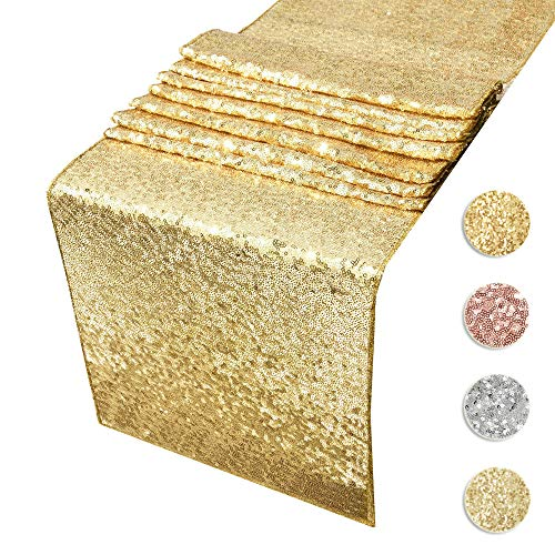 ACRABROS Sequin Table Runners Gold- 12 by 108 Inch Glitter Gold Table Runner-Gold Event Party...