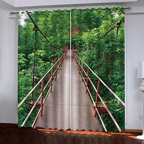 Gabapipa Juego de 2 Cortinas Naturaleza montañas Puente Colgante 117x229cm Cortinas Opacas para Ventanas Salon con Ojales, Cortinas Termicas Aislantes Frio Y Calor