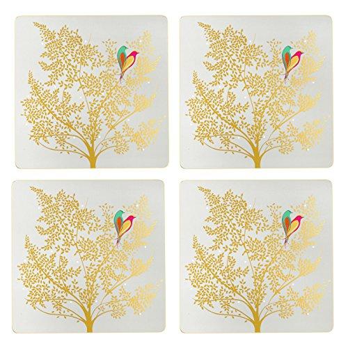 Portmeirion Home & Gifts Chelsea Set de Table carré avec Dos en liège, Bois, Multicolore, 31 x 40 x 2,4 cm