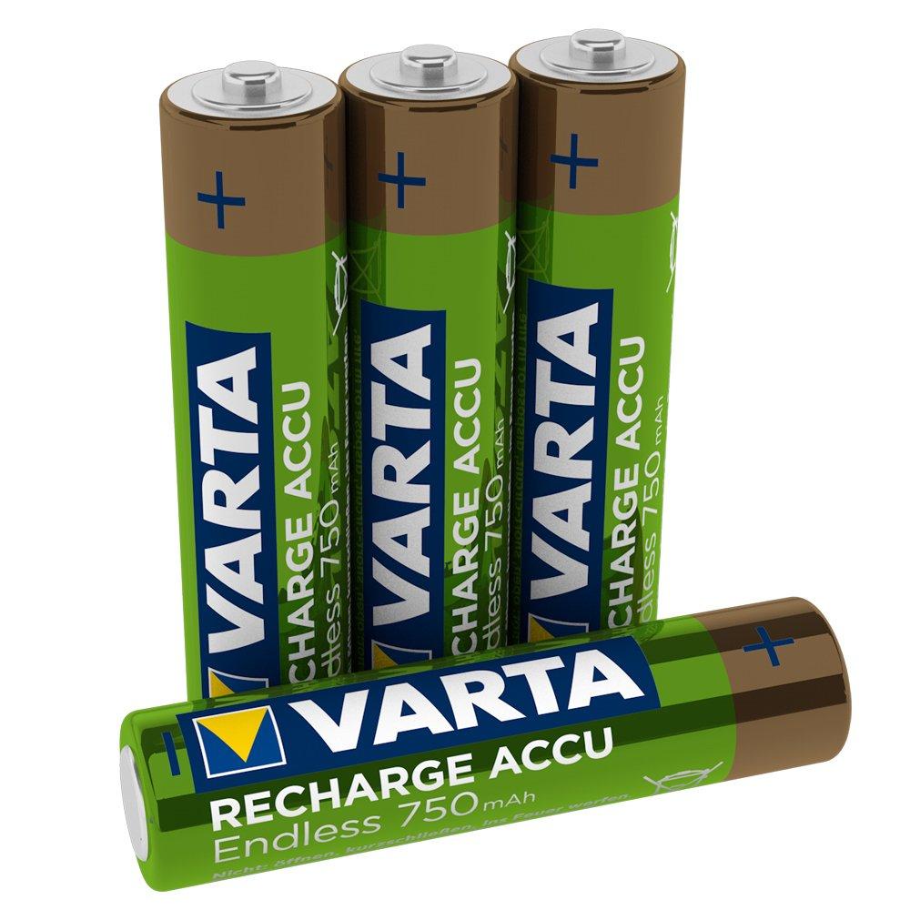 VARTA Endless Energy - Pack de 4 Pilas AAA Recargables (NiMH, 2100 ciclos, 750 mAh, precargadas): Amazon.es: Electrónica