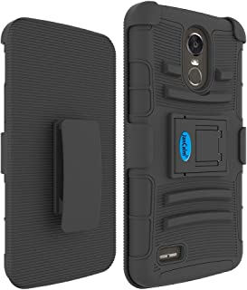 LG Stylo 3 Holster Case, LG Stylo 3 Plus Belt Clip, JanCalm [Shock Absorbing] [Hard Shell Cover] [Ultra Protective Heavy Duty Case] + Swivel Belt Clip Holster with Kickstand + Stylus (Black)