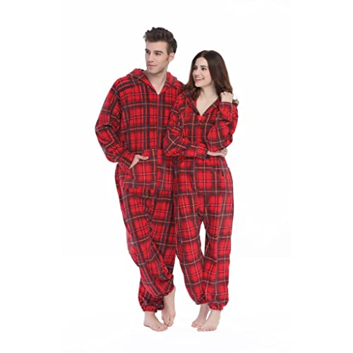 8cfbf53d13 XMASCOMING Women s   Men s Hooded Fleece Onesies One-Piece Pajamas