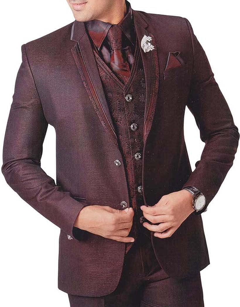 INMONARCH Mens Purple Wine 7 pc Tuxedo Suit Notch Lapel TX731
