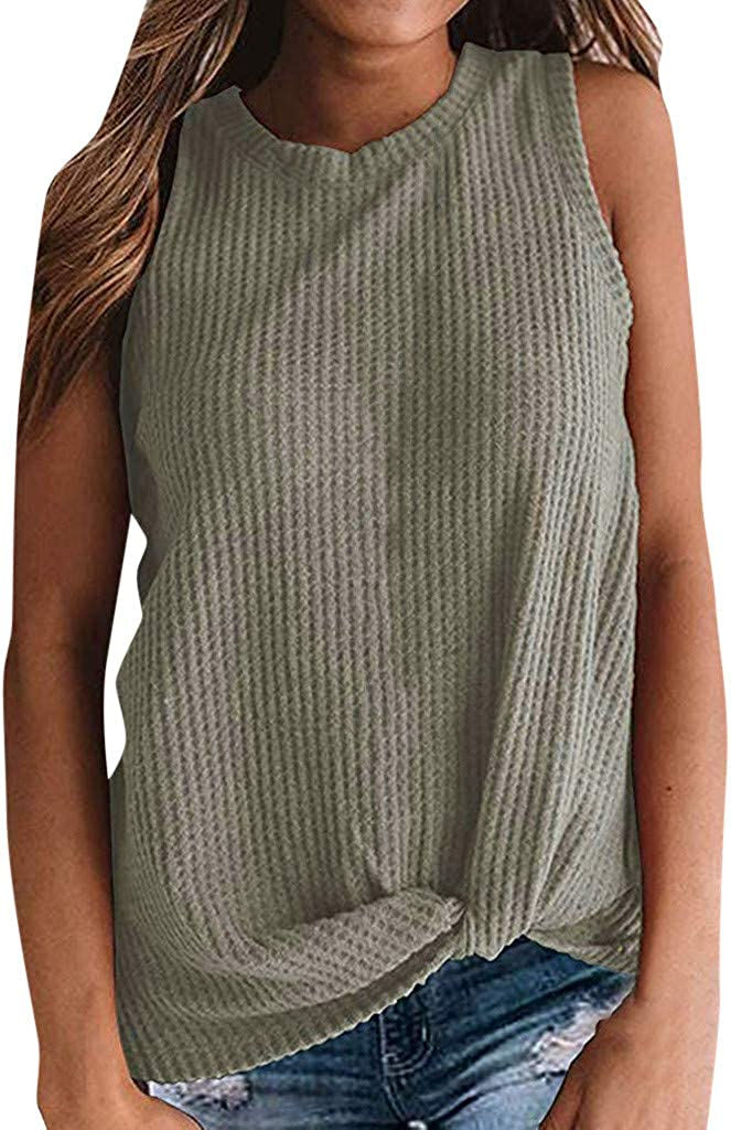 Sleeveless Tank Tops for Women Sexy,Kinsey Summer Casual Twist Knot Waffle Knit Comfortable Top Blouses Shirts Top Tee