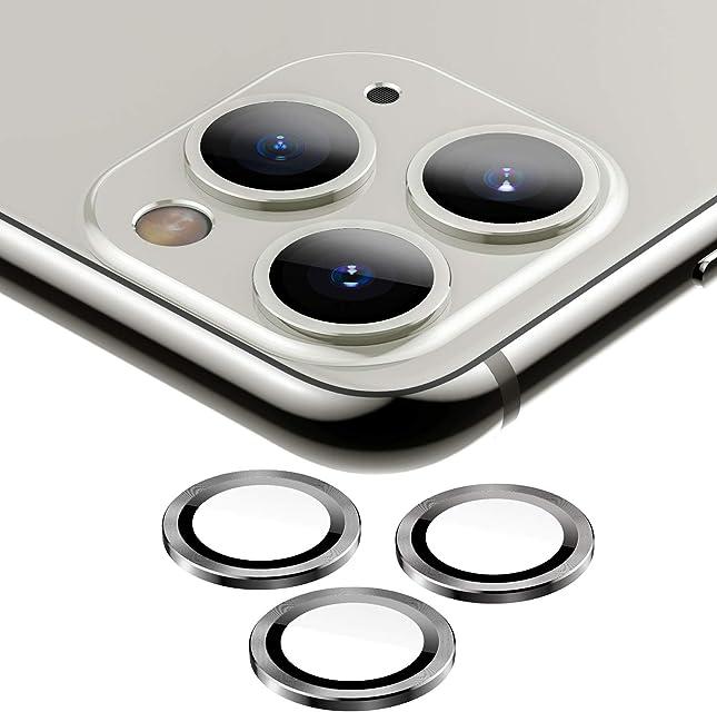 SAEYON Protector de Lente de Cristal Templado para iPhone 11 Pro/iPhone 11 Pro MAX 360 Grados Cobertura Completa Protector Cámara Trasera de Anillo Metálico 9H Dureza Anti-Rasguños Polvo Plata