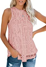 GAMISOTE Womens Lace Crochet Sleeveless Tops Sexy Halter Hollow Out Nightout Tanks Blouse