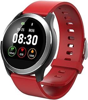 LTLJX Pulsera Actividad Inteligente Impermeable IP67 Pulsera Inteligente Pantalla Color HR Podómetro Pulsera Deporte Presión Arterial Reloj Inteligente para Mujer y Hombre,Rojo