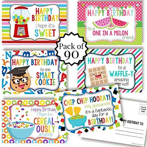 AmandaCreation 楽しい食べ物のテーマ ハッピーバースデー 空白のポストカード 友人や家族に送る 4インチx6インチ ノートカード (6種類のデザイン)
