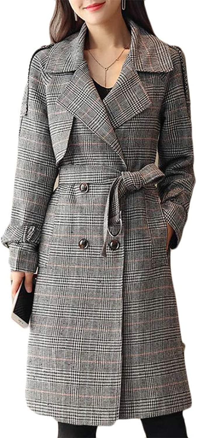 Joe Wenko Women Outwear Belt Classical Mid Length Long Sleeve Checkered Lapel Jacket Slim Double Breasted Trench Coat