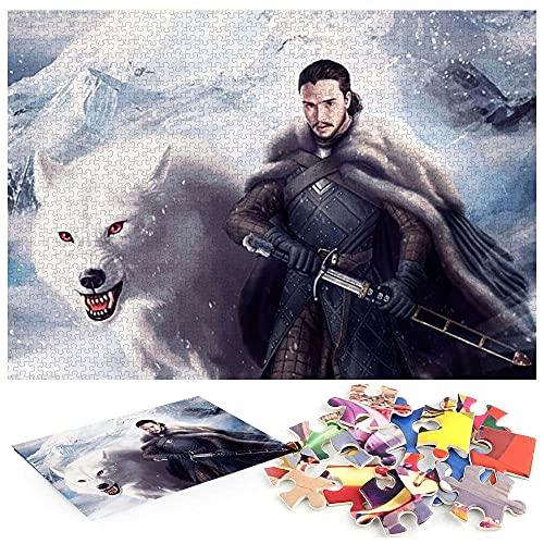 Jon Snow Wolf Juego de Tronos Puzzle 1000 Piezas Juguete De LiberacióN De Rompecabezas Rompecabezas CláSico 1000