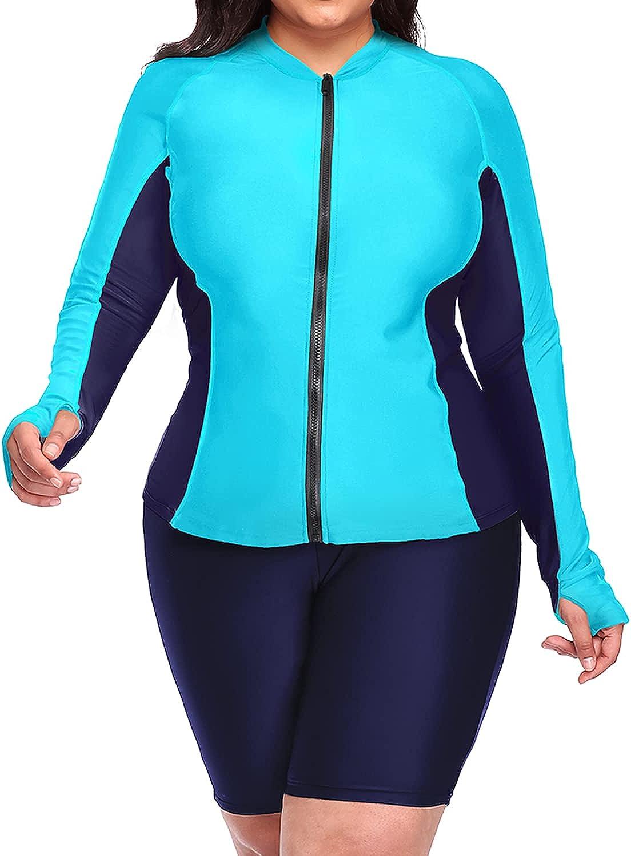 DaciWomen Plus Size Long Sleeve Rash Guard Zip Front Athletic Tankini 2 Piece SwimsuitsUPF 50