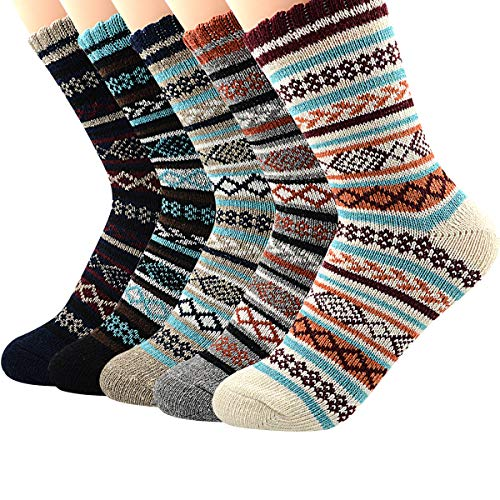 Century Star Womens Ultra Light Thermal Cashmere Wool Full Cushion Crew Cute Winter Socks (02)5 Pairs Diamond1