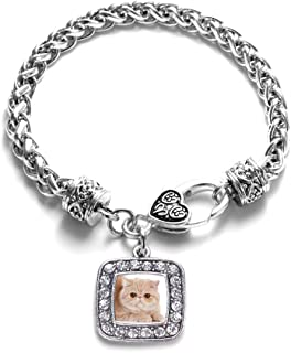 Inspired Silver - Silver Square Charm Bracelet with Cubic Zirconia Jewelry