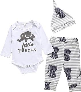 Newborn Baby Boy Girl Little Peanut Outfit Elephants Onesie Romper Bodysuit+ Legging Pant Headband Summer Clothes Set