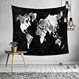 Autumn Dream World Map Black and White Psychedelic Tapestry Wall Hanging Arts Backdrop, 71 by 91 inch