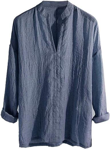 PARVAL Camisa Casual Retro para Hombre Botón Camiseta Transpirable Camisetas de Manga Larga Camisas Sueltas Color sólido Blusa con Cuello en v Blusa ...