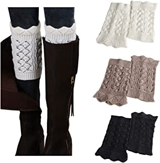 Boot Cuffs for Women Short Crochet Knitted Leg Warmers warm boot socks 1 to 8 Pairs