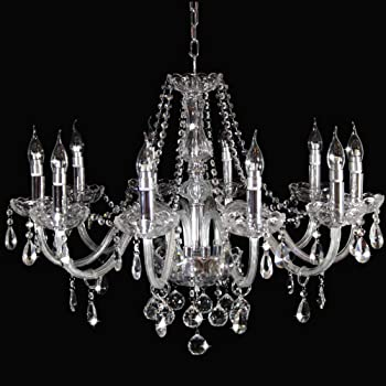 12 arm green enameled crystal chandelier with glass flowers on the gold base
