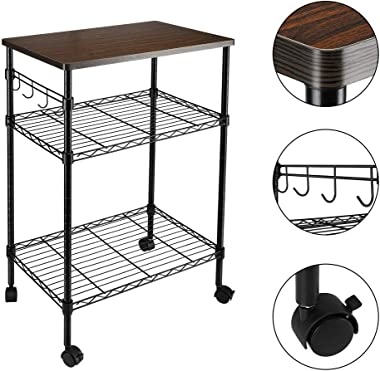 Henf 3-Tier Rolling Kitchen Microwave Cart with Hook, Kitchen Baker's Rack Wire Utility Cart on Wheels, Microwave Oven Stand Storage Cart Workstation Shelf, Black