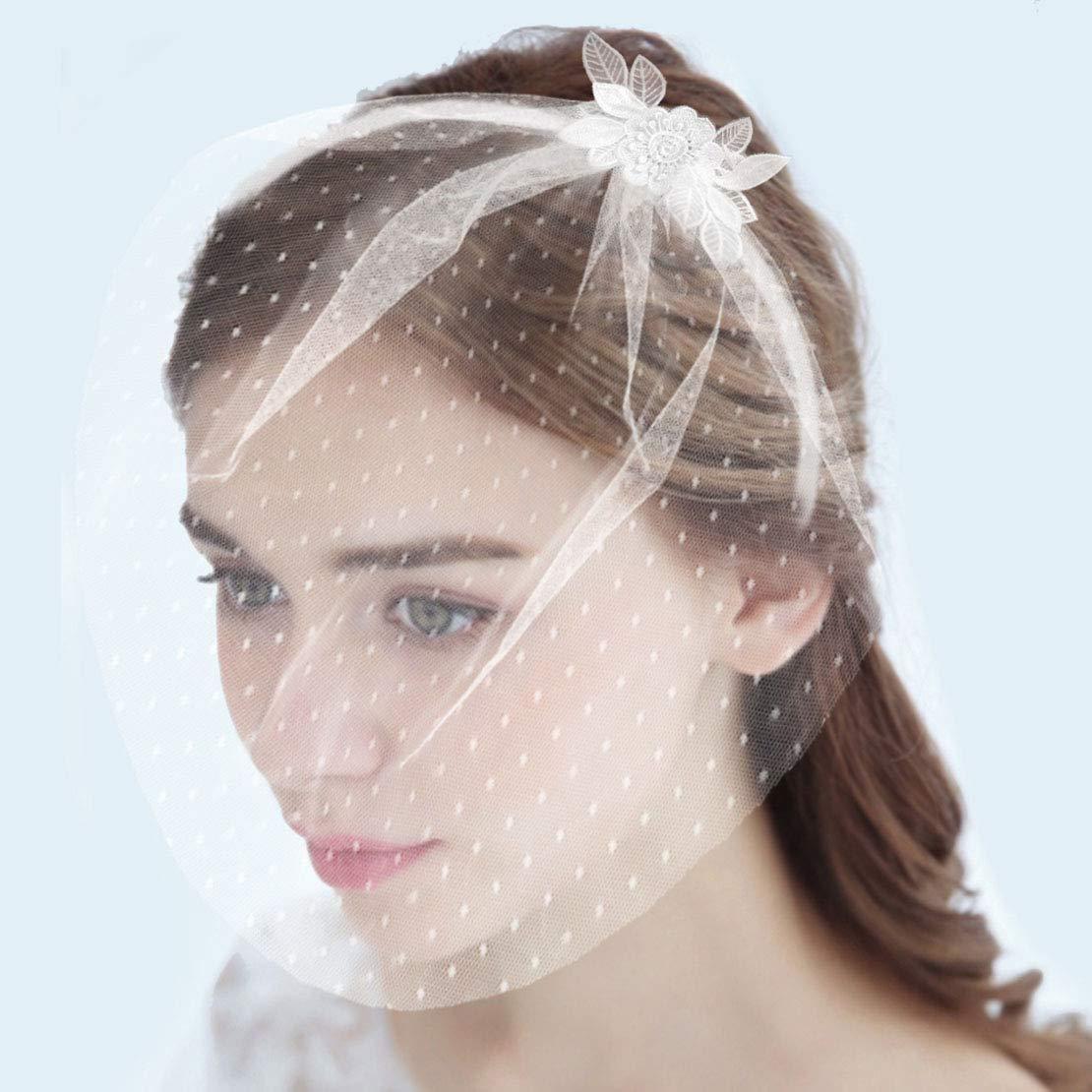 Fangsen 1T Bridal Wedding Dot Veil Fascinator Floral Lace Headband Tea Party Hats for Women (White)