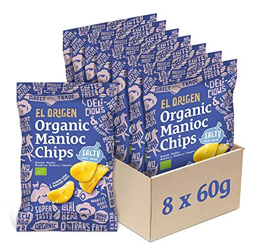 el origen chips de yuca ecológica con sal marina paquete de 8, 8 x 60 g
