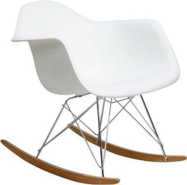Modway Rocker Mid-Century Modern Molded Plastic Living Room Lounge Chair Rocker in White