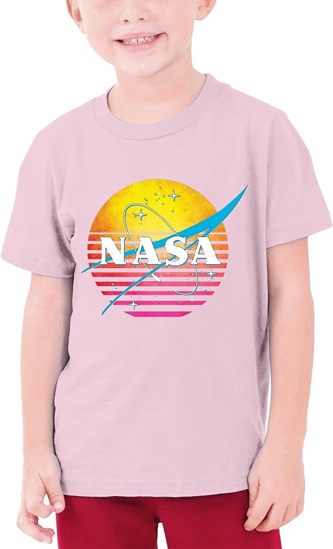 Retro 1980s NASA Logo Teenage T-Shirt Crewneck Short-Sleeve Shirt Cotton Tees Tops for Boys Girls