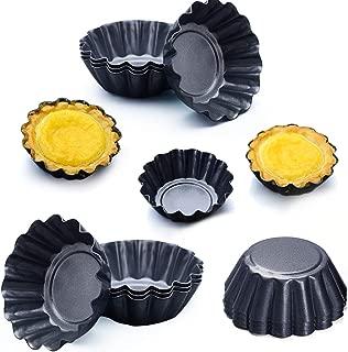 Picowe 12 Packs Egg Tart Mold, Size 2.6 x 0.9inch, Cupcake Cake Muffin Mold Tin Pan Baking Tool, Carbon Steel
