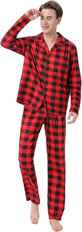 Christmas Pajamas for Family,Christmas Matching Outfits Long Sleeve Red Plaid Print Tops+Pants Sleepwear Sets,Christmas Tree