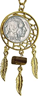 """American Coin Treasures Buffalo Nickel Gold Tone Dream Catcher Coin Pendant with Tiger Eye Stone with 24"""" Chain"""