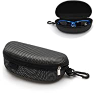 Coohole Portable Zipper Eye Glasses Sunglasses Clam Shell Hard Case Protector Box, Black