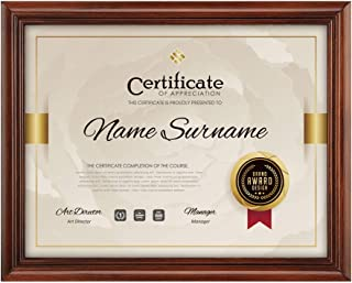 RPJC Solid Wood Document or Certificate Frames High Definition Glass and Display Diplomas 8.5x11 Inch Standard Paper Frame Brown