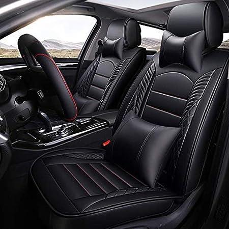 Vierjahreszeiten Sitzbezug Abriebfestes Pu Leder Autositzkissenbezug 5 Sitze Komplettsatz Universal Fit Luxuriöses Schwarz Auto
