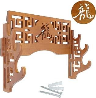 Eforlife 3-Tier Sword Holder Wall Mount Bamboo Samurai Sword Rack Hanger Katana Wakizashi Tanto Genji Stand