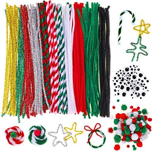 HOWAF Lavoretti di Natale per Bambini, 130 Pezzi Scovolini Pipa Ciniglia Steli Set con 110 Pezzi Pompon Colorati e 100 Pezzi Occhi Adesivi Finti per Natale Artigianato DIY